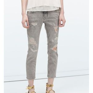 Zara Grey Relaxed Fit Distressed Cropped Jean
